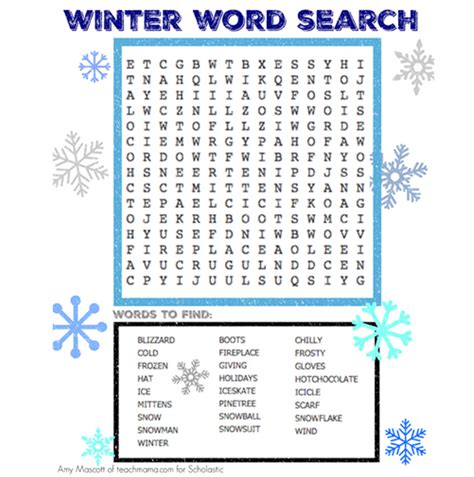 Winter Word Search | Worksheets & Printables | Scholastic